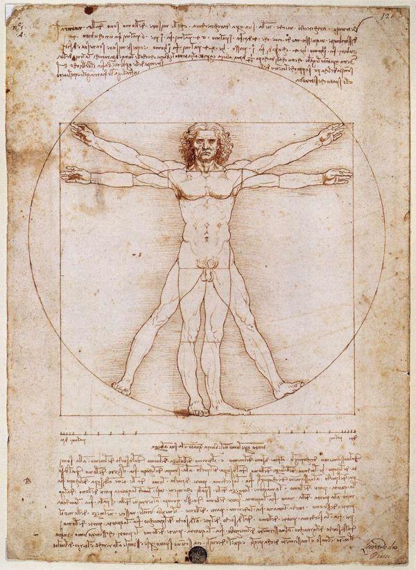 Der virtruvianische Mensch von Leonardo Da Vinci