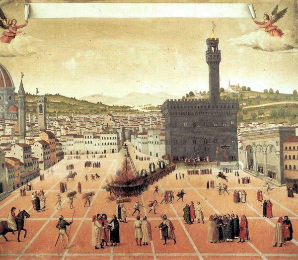 Gemälde zur Hinrichtung Savonarolas in Florenz
