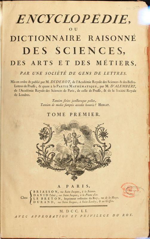 Titelseite des ersten Bandes der französischen Enzyklopädie.