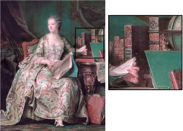 Madame de Pompadour mit der Enzyklopädie.