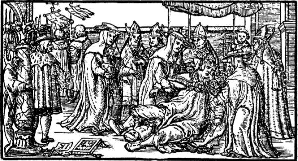Darstellung der Niederkunft der Päpstin Johanna, 16. Jahrhundert.
