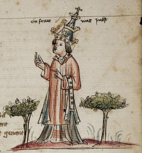 Darstellung der Päpstin Johanna in einer Chronik von 1450.