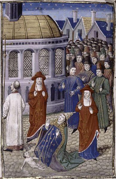 Die Niederkunft der Päpstin Johanna in einer Darstellung von 1450.