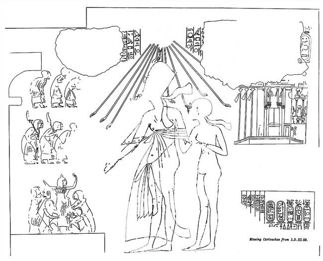 Zeichnung eines Reliefs von Pharao Semenchkare.