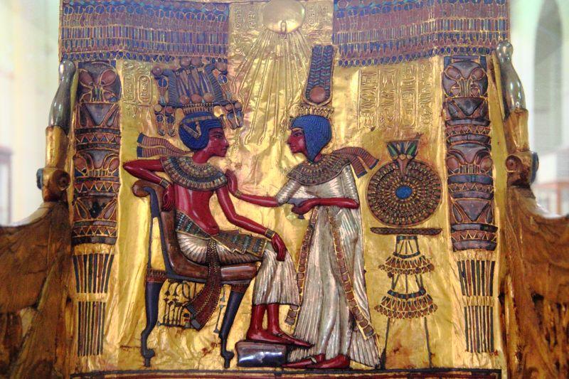 Ausschnitt vom Thron des Pharao Tutanchamun.