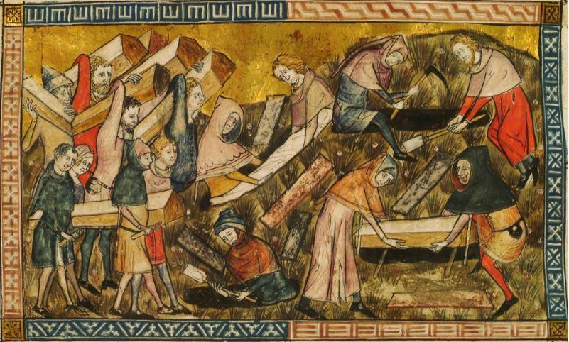 Mittelalterliche Darstellung der Beerdigung von Pestopfern.