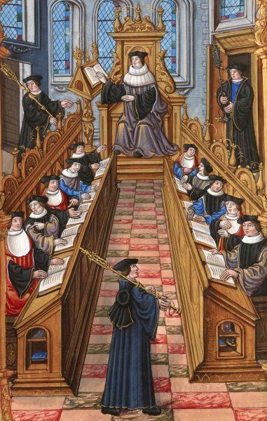 Darstellung einer mittelalterlichen Universität.