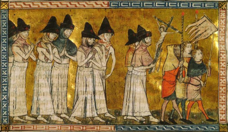Mittelalterliche Darstellung sich selbst auspeitschender Büßer.