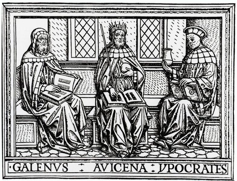 Holzstich der Medizingelehrten Galen, Avicenna und Hippokrates.