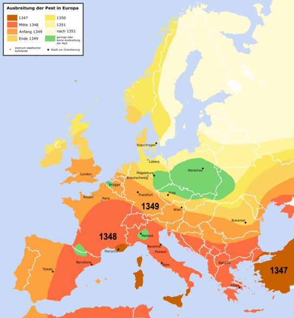 Landkarte mit dem Ausbreitungsweg der mittelalterlichen Pestepidemie.