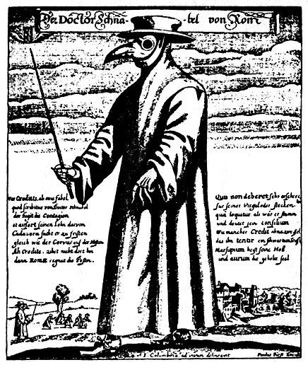 Darstellung eines Pestarztes im 16. Jhd.