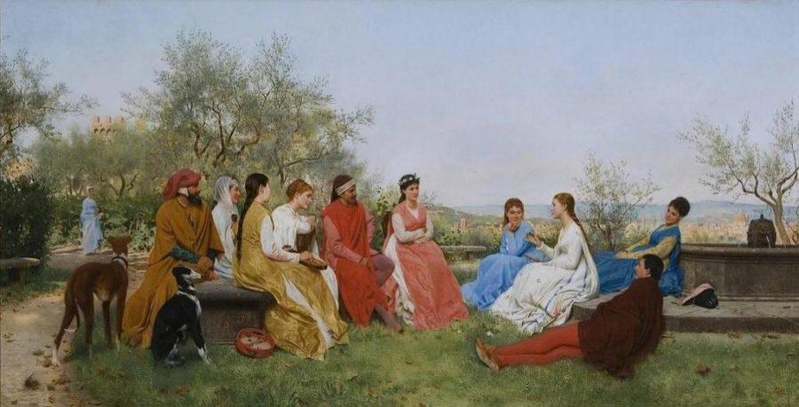Fröhliche Gesellschaft junger Leute, nach einer Szene aus Boccaccios Decamerone.