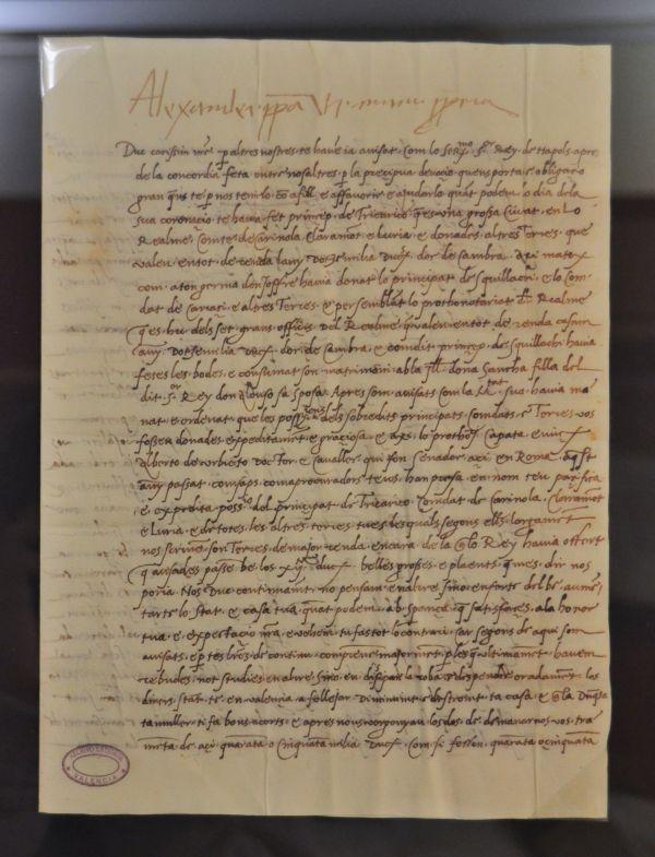 Brief Papst Alexanders VI. an seinen Sohn