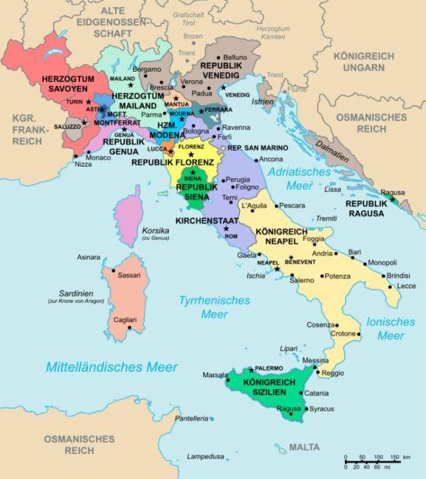 Karte, die das Italien der Renaissance zeigt.