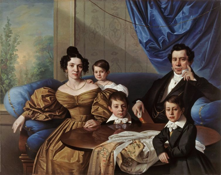 Familienbild der Biedermeierzeit.