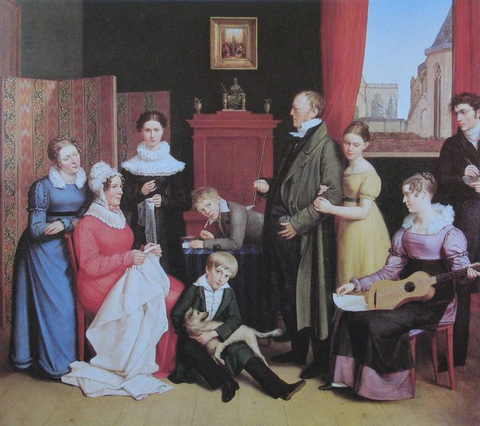 Familienportrait aus der Biedermeierzeit.