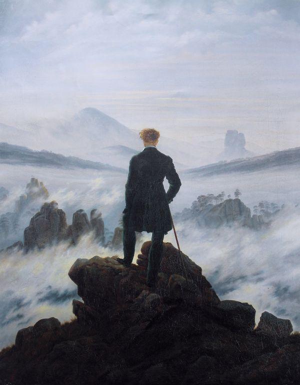 """""""Der Wanderer über dem Nebelmeer"""", berühmtes Gemälde von Caspar David Friedrich."""