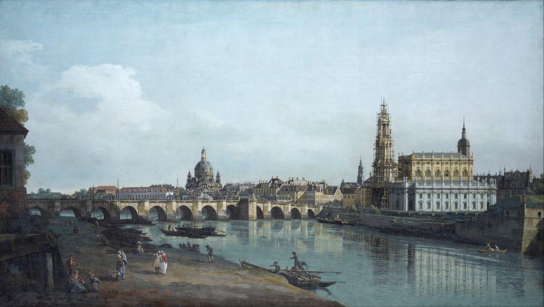 Panorama von Dresden im 18. Jahrhundert.
