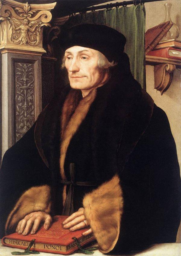 Portrait des Humanisten Erasmus von Rotterdam, gemalt von Hans Holbein 1523.