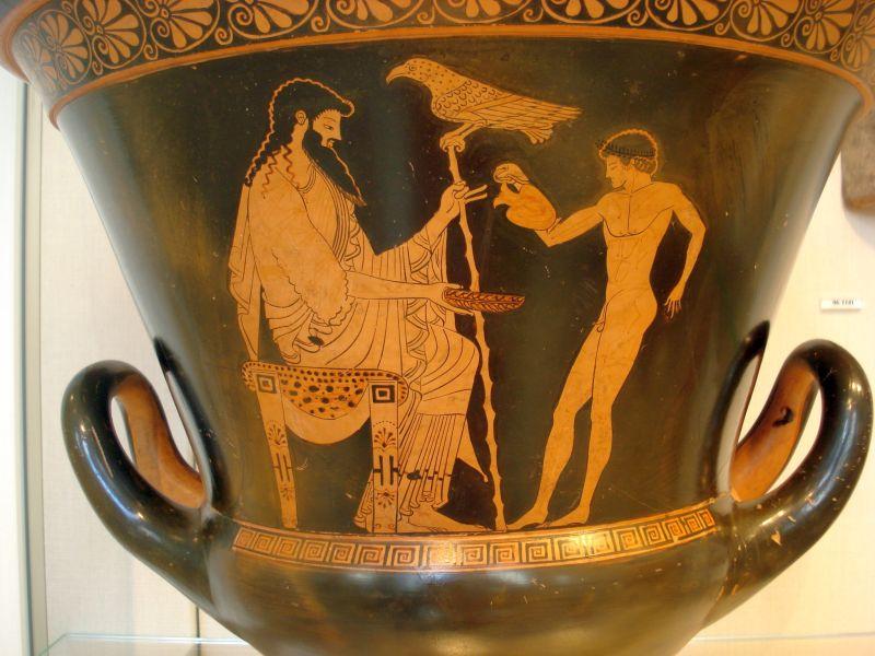 Antike griechische Vase, die Zeus und Ganymed zeigt.