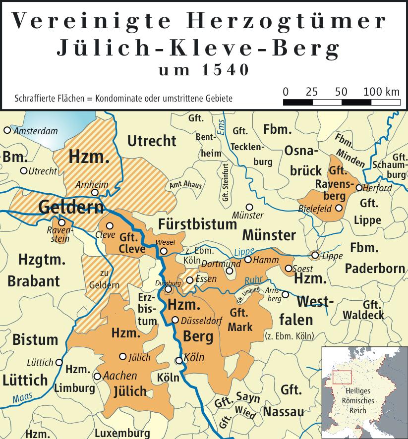 Karte der Herzogtümer Jülich-Kleve-Berg im Jahr 1540.