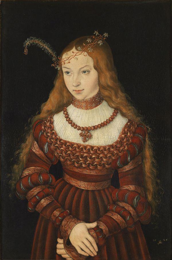 Brautportrait der Sibylle von Kleve, Lucas Cranach 1526. Sie heiratete nach Jülich-Kleve-Berg ein.