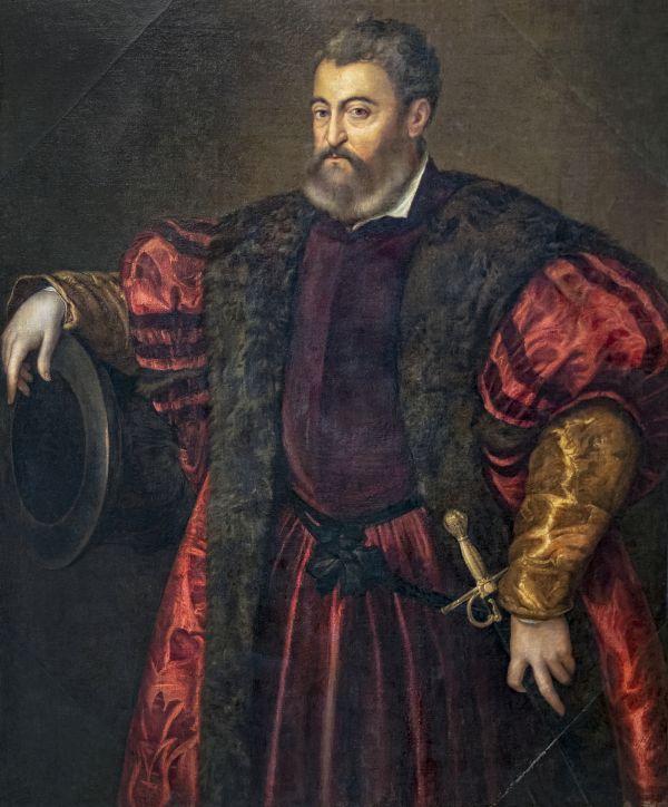 Gemälde von Tizian, das Alfonso d'Este zeigt. Er war der dritte Ehemann von Lucrezia Borgia.