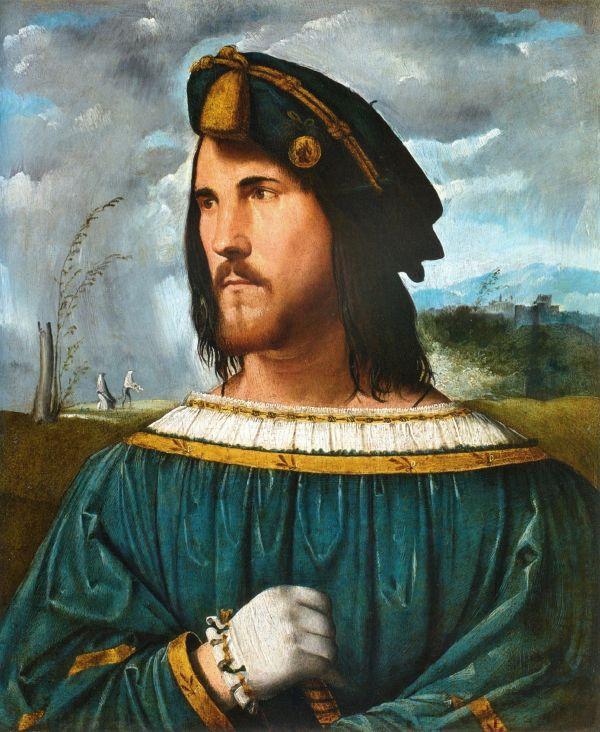 Mögliches Portrait Cesare Borgias von Altobello Melone.