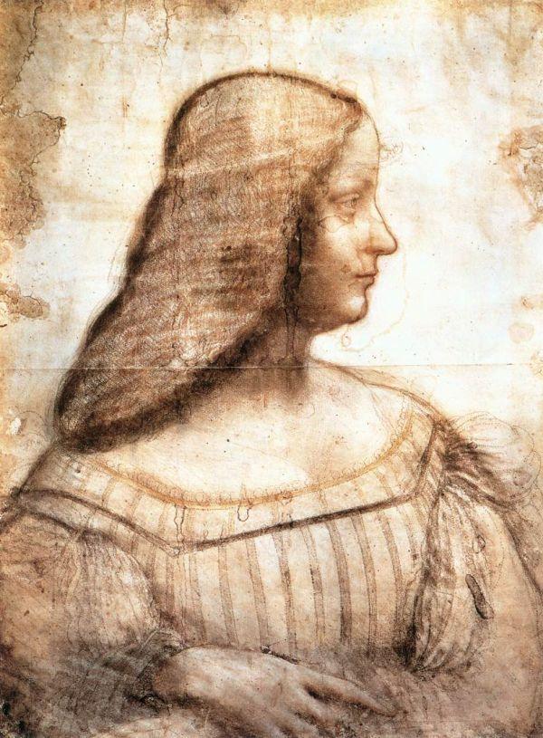 Skizze von Leonardo da Vinci, die Isabella d'Este zeigt.