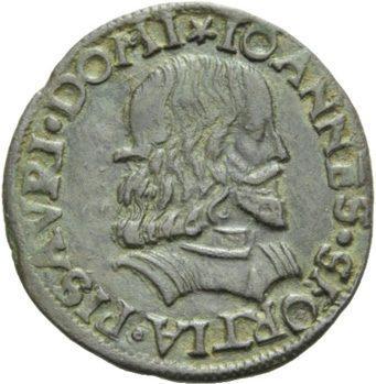 Münze mit dem Bildnis von Giovanni Sforza, dem ersten Ehemann von Lucrezia Borgia.