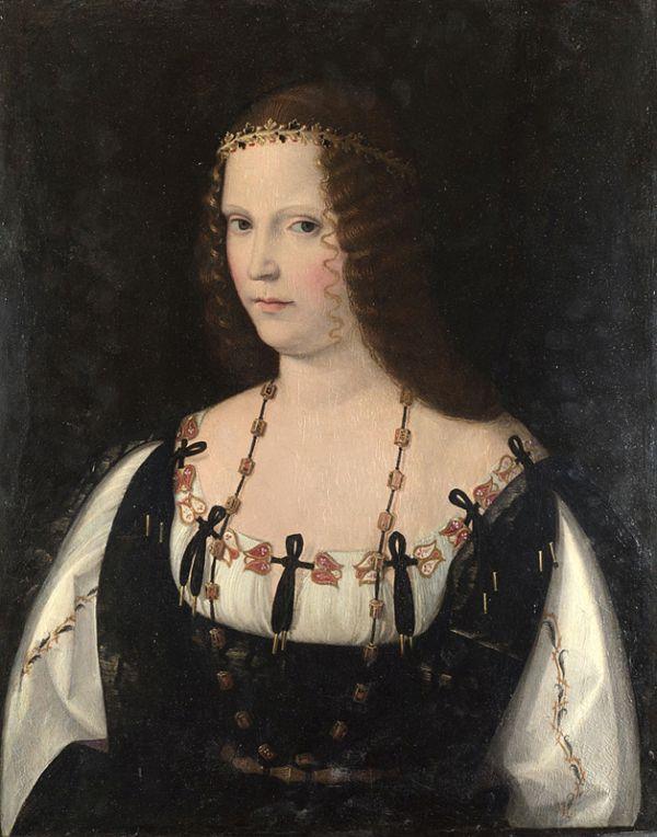 Gemälde von Bartolomeo Veneto, das wahrscheinlich Lucrezia Borgia zeigt.