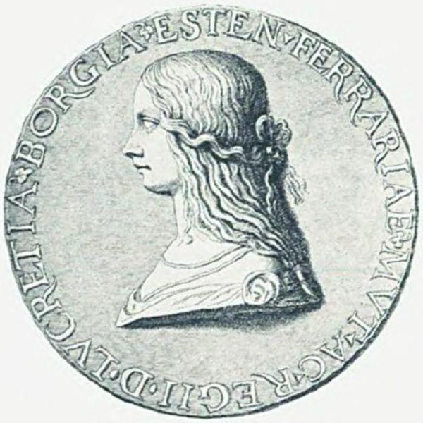 Bildnis von Lucrezia Borgia auf einer Münze.