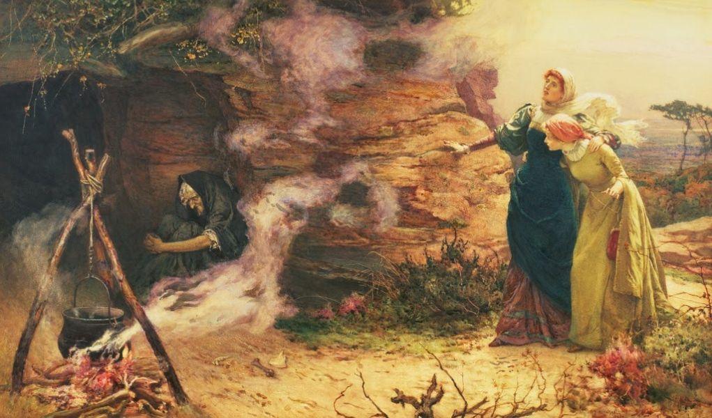 """Gemälde """"Besuch bei der Hexe"""" von Brewntall, 1882."""