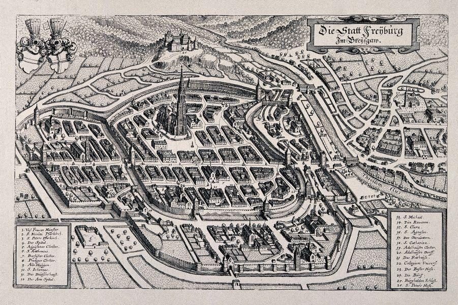 Frühneuzeitlicher Stadtplan von Freiburg