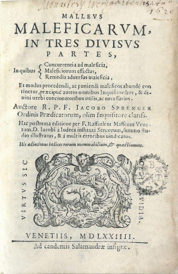"""Titelseite des Buches """"Malleus Maleficarum"""" (Hexenhammer)"""