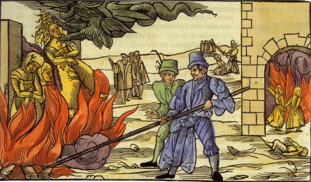 Holzschnitt: Hexenverbrennung