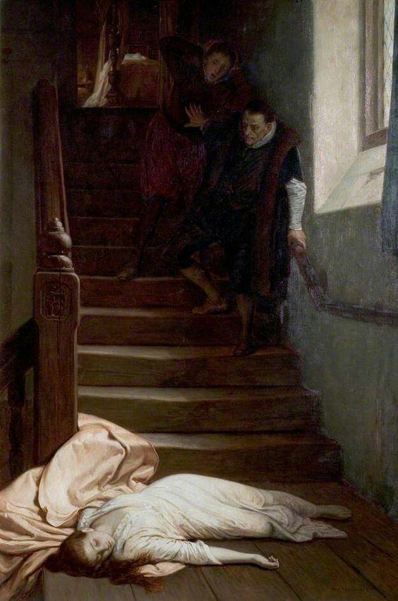 Darstellung des Todes von Amy Robsart, 19. Jahrhundert.