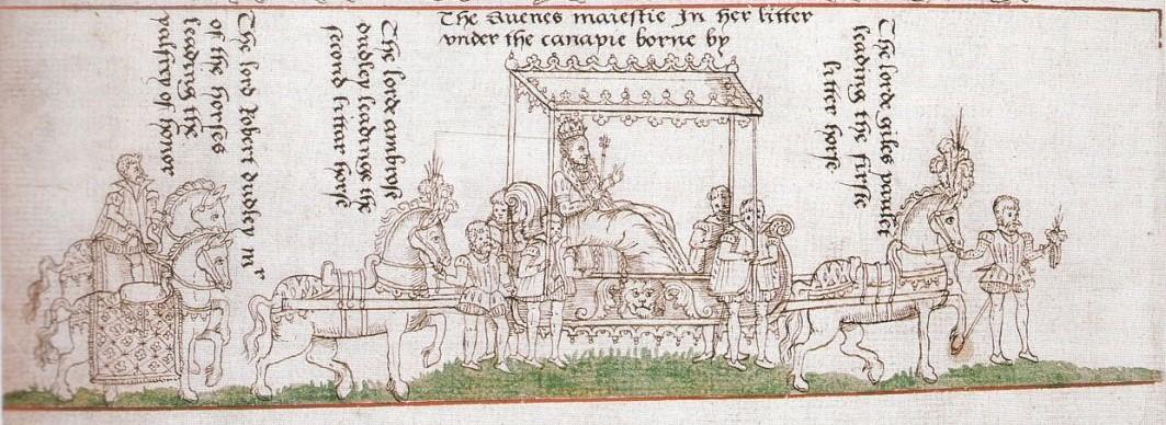 Zeichnung der Krönungsprozession von Elizabeth I.