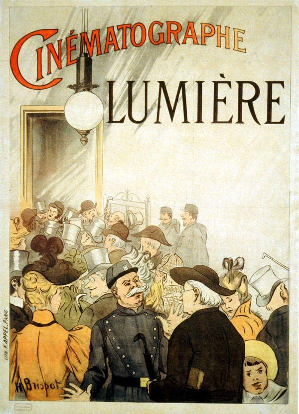 Ein Werbeplakat für den Cinematographen der Gebrüder Lumière.