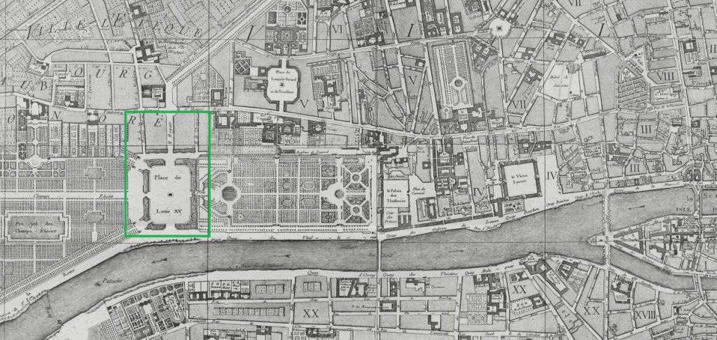 Die Lage der Place Louis XV. auf einem Stadtplan von 1763.