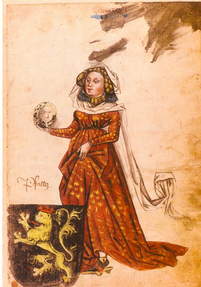 Portraitzeichnung der Mechthild von der Pfalz in einer Handschrift