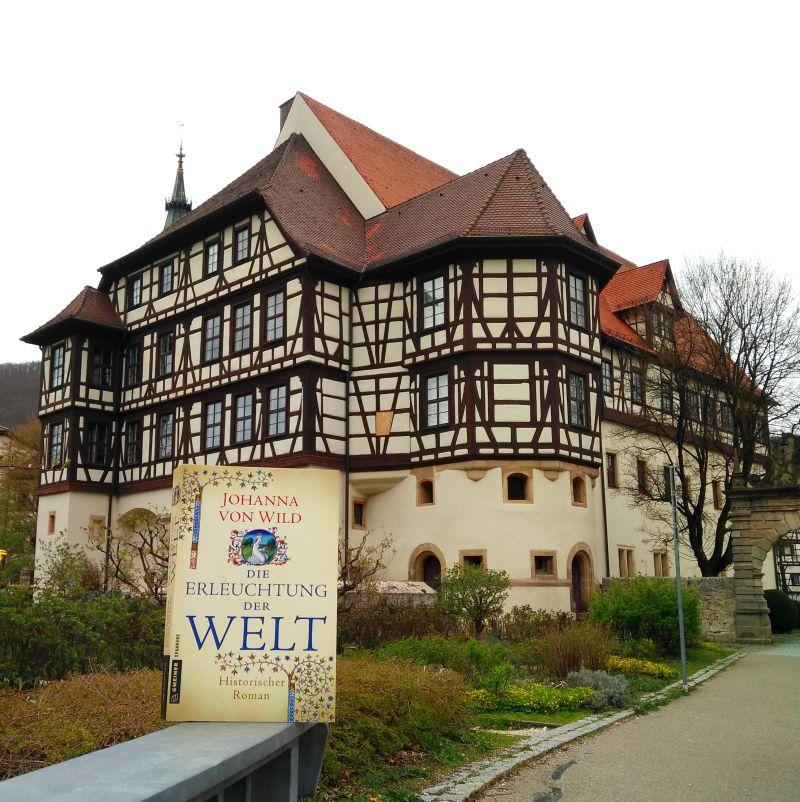 """Der Roman """"Die Erleuchtung der Welt"""" von Johanna von Wild vor dem Residenzschloss Urach."""