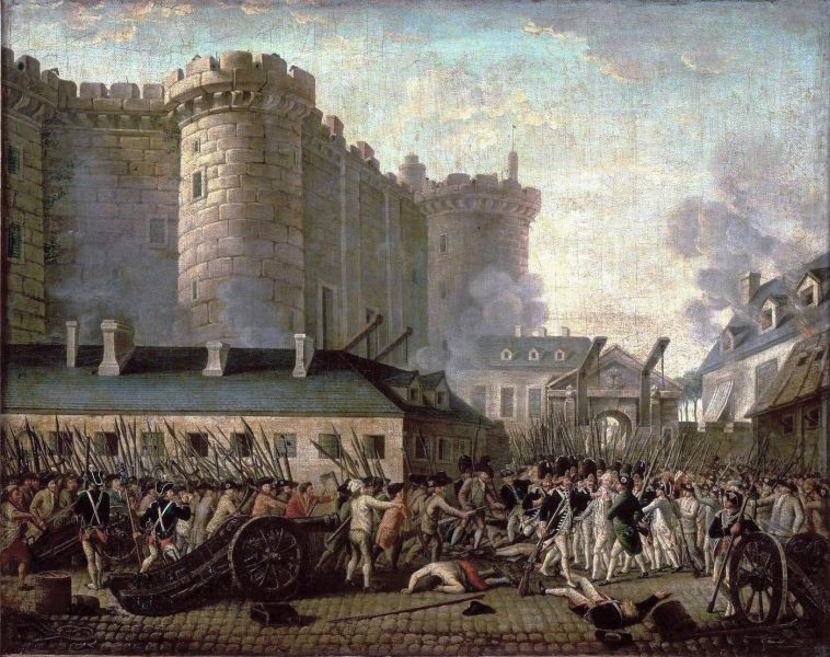 Gemälde des Sturms auf die Bastille von 1798.