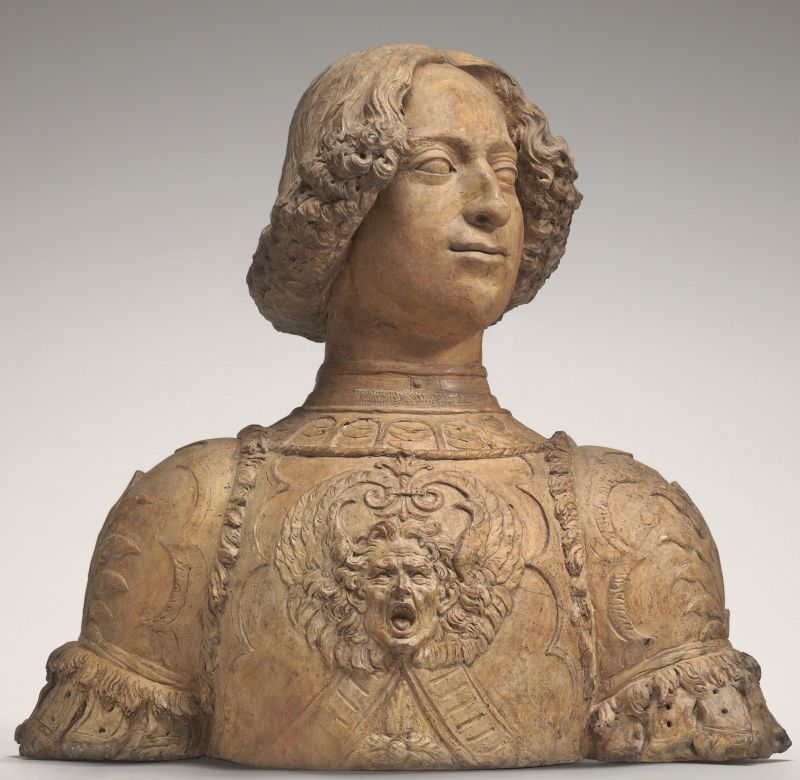 Büste von Giuliano de Medici, der 1478 bei der Verschwörung der Pazzi in Florenz ermordet wurde.