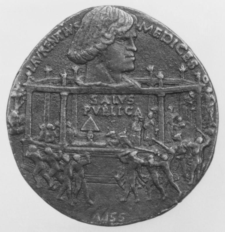 Eine Medaille aus Florenz, zum Gedenken an die Verschwörung der Pazzi.