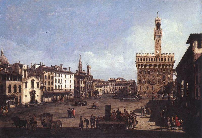 Die Piazza und der dahinter gelegene Palazzo della Signoria, zentraler Ort in Florenz und unter anderem Schauplatz der Verschwörung der Pazzi.