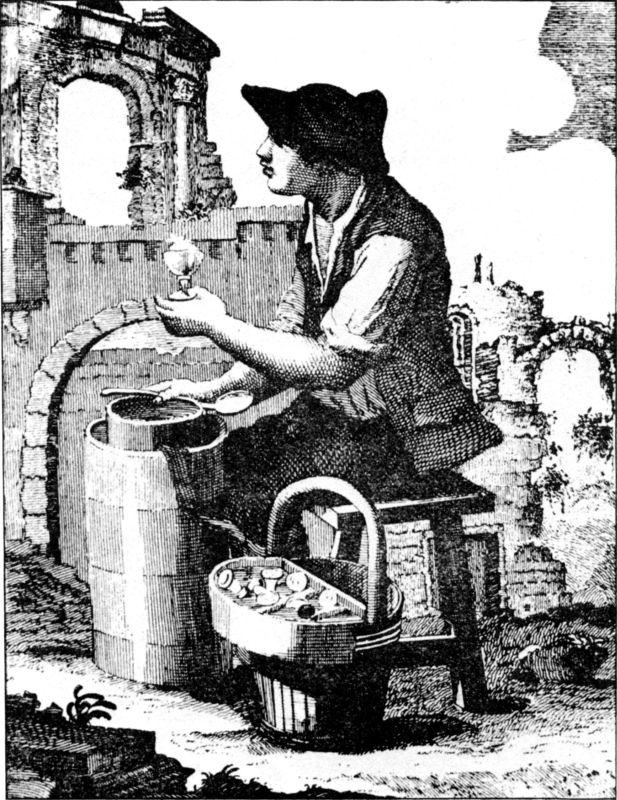 Ein Verkäufer von Speiseeis im Rom des 19. Jahrhunderts.