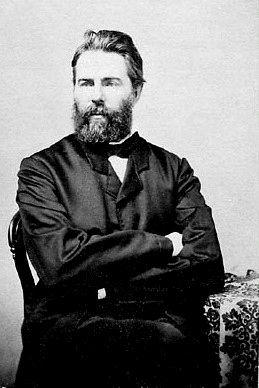 Schwarzweißportrait von Herman Melville, Autor von Moby Dick, um 1860.