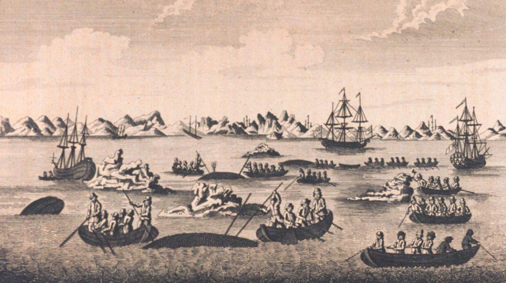 Historische Darstellung des Walfangs im 18. Jahrhundert.