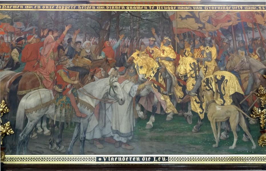 Wandgemälde des flämischen Schlachtensieges von 1302 im Rathaus von Brügge.